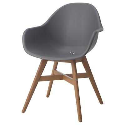 FANBYN Židle s područkami, šedá
