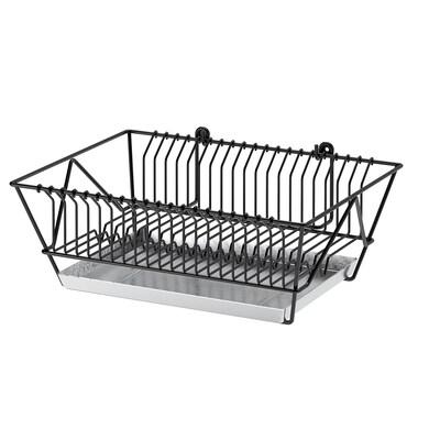 FINTORP Odkapávač na nádobí, černá/galvanizováno, 37.5x29x13.5 cm