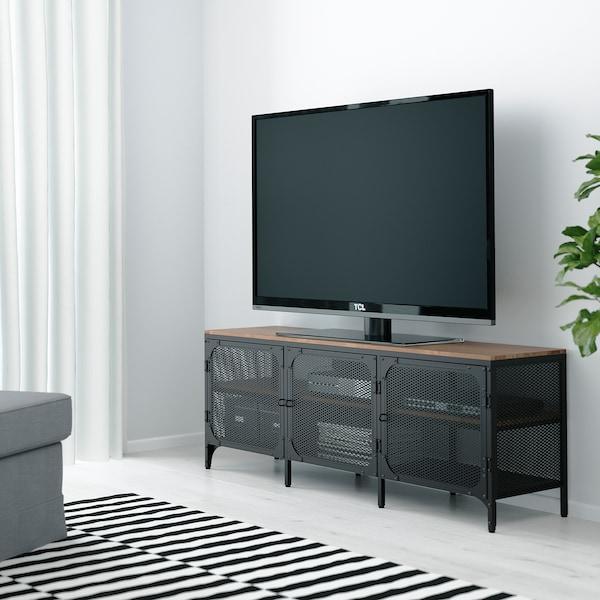 FJÄLLBO TV stolek, černá, 150x36x54 cm