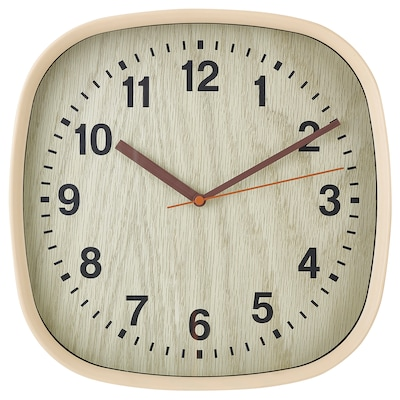 FJÄRR Nástěnné hodiny, světle hnědá, 30x30 cm