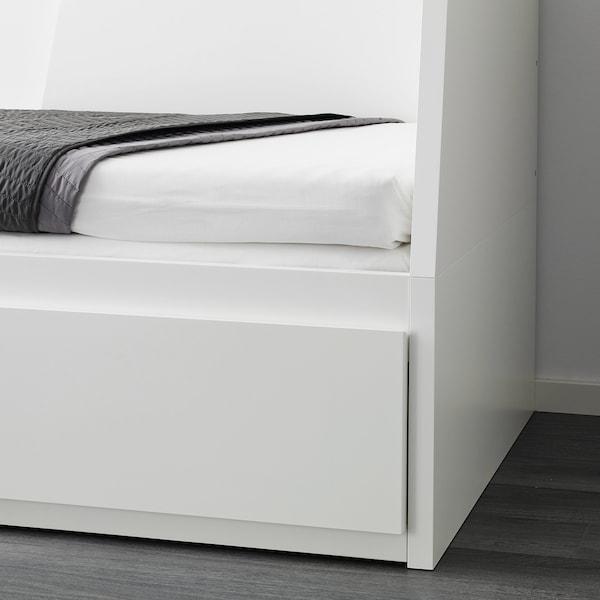 FLEKKE Pohovka se 2 zásuvkami/2 matracemi, bílá/Malfors tvrdá, 80x200 cm