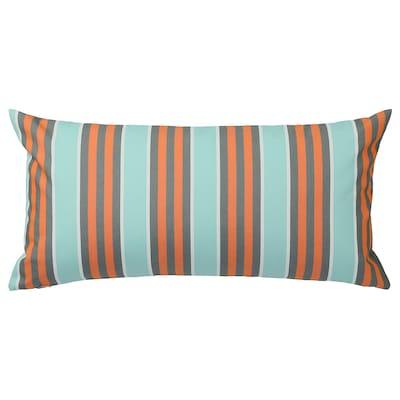 FUNKÖN polštář, vnitřní/venkovní oranžová/sv.modrá 30 cm 58 cm 310 g 440 g