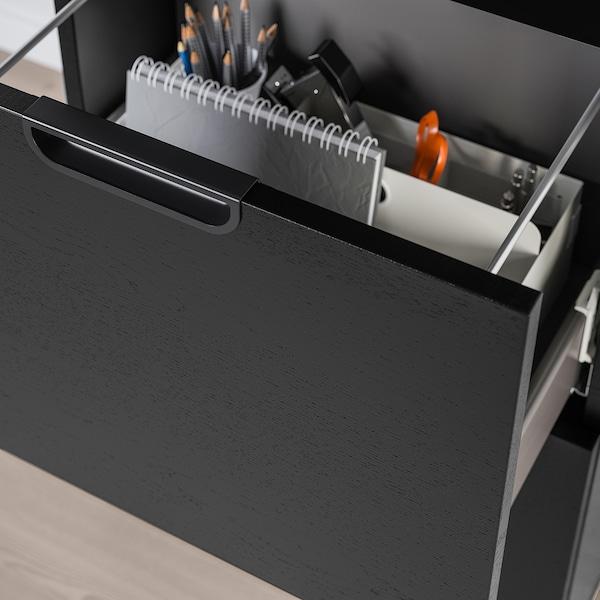 GALANT Úložná sestava s pořadačem, černě mořená jasanová dýha, 102x120 cm