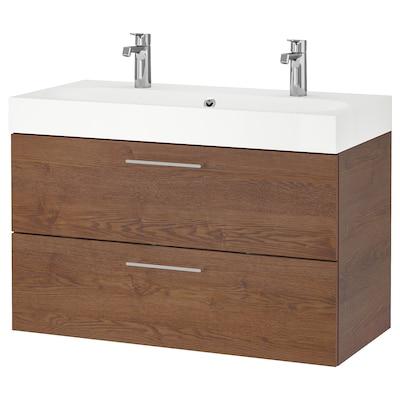 GODMORGON / BRÅVIKEN Umyvadlová skříňka se 2 zásuvkami, vzor hnědého mořeného jasanu/Baterie Brogrund, 100x48x68 cm