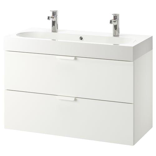 GODMORGON / BRÅVIKEN umyvadlová skříňka se 2 zásuvkami bílá/Baterie Brogrund 100 cm 100 cm 48 cm 68 cm