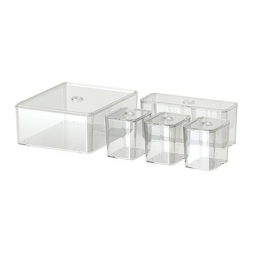 GODMORGON Krabice s víkem, sada 5 ks IKEA Lze mýt v myčce.