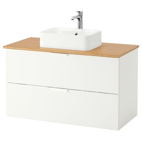 GODMORGON/TOLKEN / HÖRVIK umyv.skř.+deska, umyv. 45×32 cm bílá/bambus Baterie Brogrund 102 cm 100 cm 49 cm 72 cm