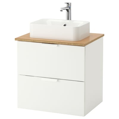GODMORGON/TOLKEN / HÖRVIK umyv.skř.+deska, umyv. 45×32 cm bílá/bambus Baterie Brogrund 62 cm 60 cm 49 cm 72 cm