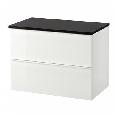 GODMORGON / TOLKEN Umyvadlová skříňka se 2 zásuvkami, lesklá bílá/antracit, 82x49x60 cm