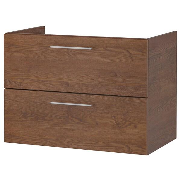 GODMORGON umyvadlová skříňka se 2 zásuvkami vzor hnědého mořeného jasanu 80 cm 47 cm 58 cm
