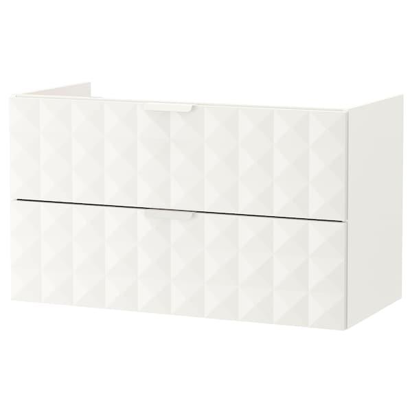 GODMORGON umyvadlová skříňka se 2 zásuvkami Resjön bílá 100 cm 47 cm 58 cm