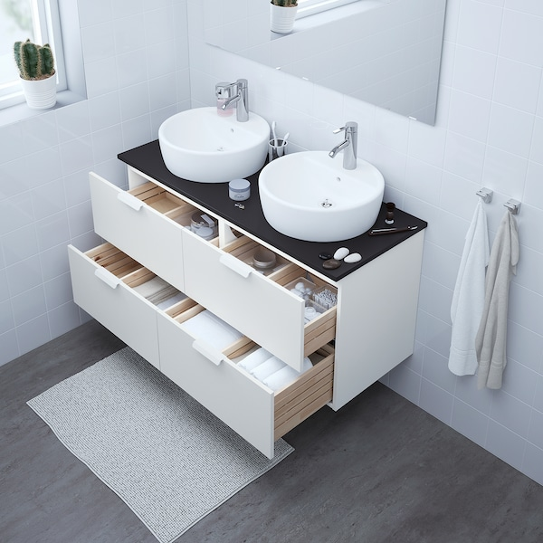 GODMORGON umyvadlová skříňka se 4 zásuvkami bílá 120 cm 47 cm 58 cm