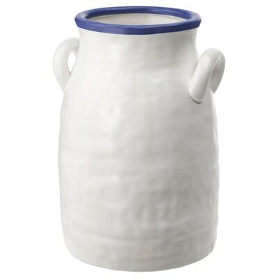 GODTAGBAR Váza, keramika bílá/modrá, 25 cm