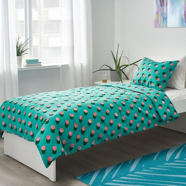 GRACIÖS Povlečení na jednolůžko, puntíky/růžová tyrkysová, 150x200/50x60 cm