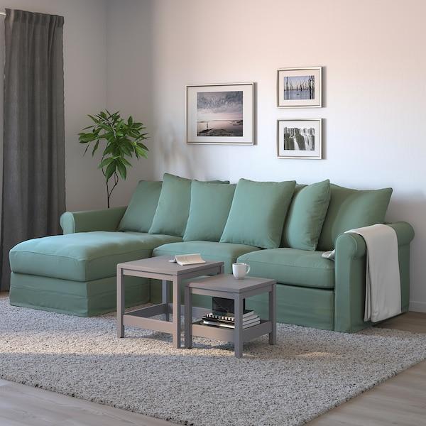 GRÖNLID 3místná rozkládací pohovka, s lenoškou/Ljungen světle zelená