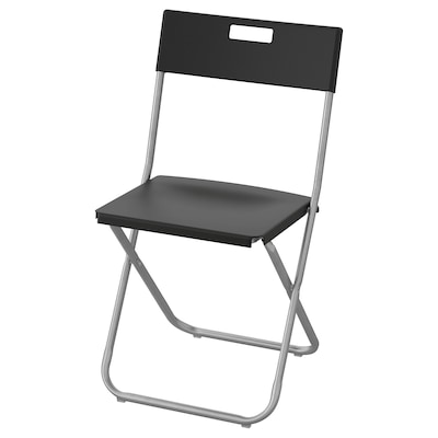 GUNDE Skládací židle, černá