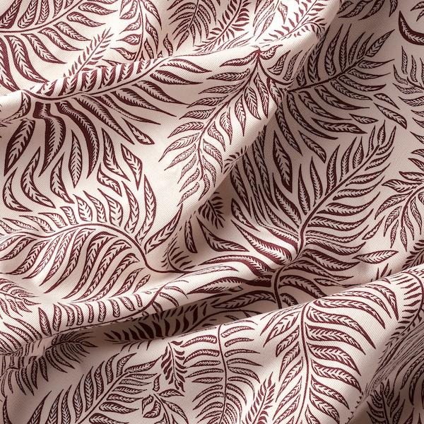 HAKVINGE Látka, přírodní tmavě červená/vzor listů, 150 cm