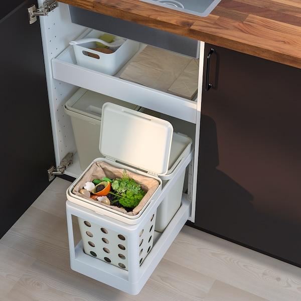 HÅLLBAR Odpadkový koš s víkem na bioodpad, světle šedá, 10 l