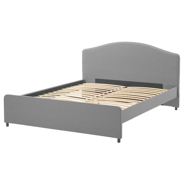 HAUGA Čalouněný rám postele, Vissle šedá, 140x200 cm