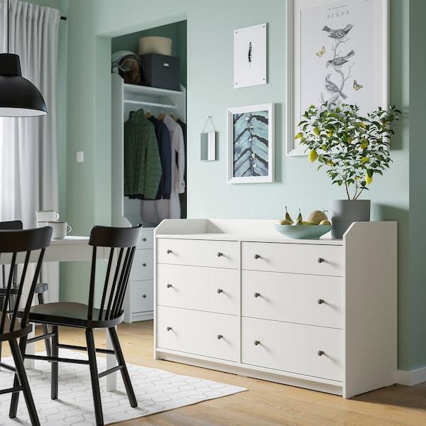 HAUGA Komoda se 6 zásuvkami, bílá, 138x84 cm