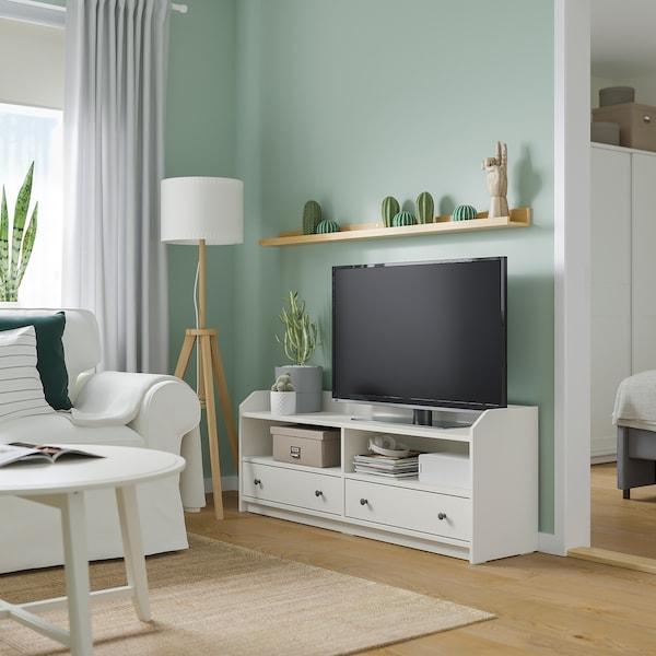 HAUGA TV stolek, bílá, 138x36x54 cm