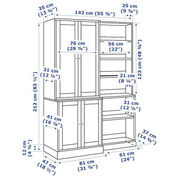 HAVSTA Úložná sestava, tmavě hnědá, 142x47x212 cm