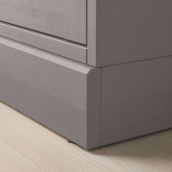HAVSTA Vitrína se soklem, šedá/čiré sklo, 81x37x134 cm