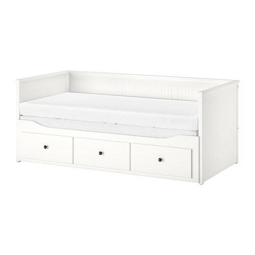 d42e3d9455ea HEMNES Pohovka se 3 zásuvkami 2 matracemi - bílá Moshult tvrdá - IKEA
