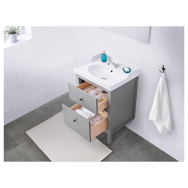 HEMNES / RÄTTVIKEN Umyvadlová skříňka se 2 zásuvkami, šedá, 62x49x89 cm