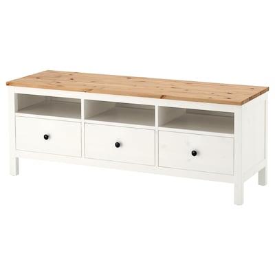 HEMNES TV stolek, bílé mořidlo/světle hnědá, 148x47x57 cm