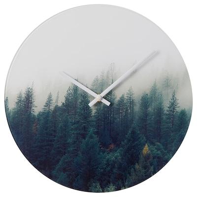 HOJADE Nástěnné hodiny, lesní/sklo, 30 cm