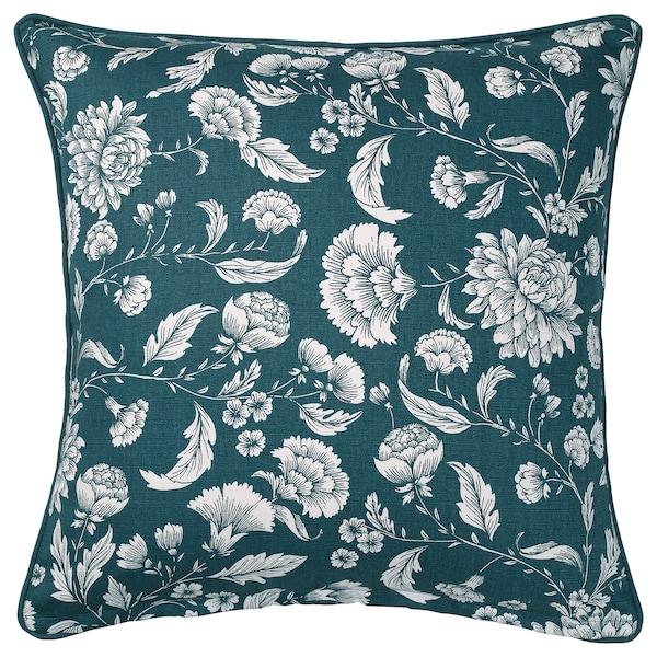 IDALINNEA Povlak na polštář, modrá/bílá/květinový vzor, 50x50 cm