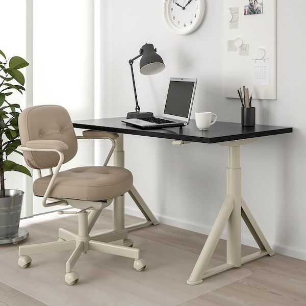 IDÅSEN Polohovací stůl, černá/béžová, 120x70 cm
