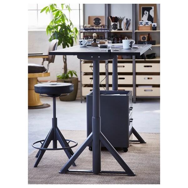 IDÅSEN Polohovací stůl, černá/tmavě šedá, 160x80 cm