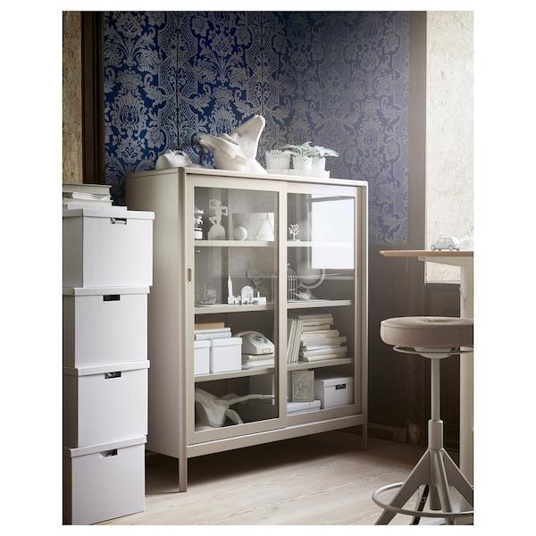 IDÅSEN Skříňka s posuvnými proskl. dvířky, béžová, 120x140 cm