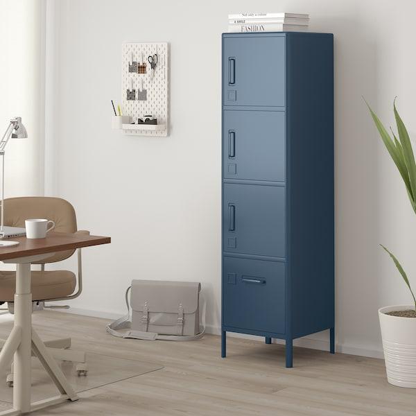 IDÅSEN Vysoká skříň se zásuvkou a dvířky, modrá, 45x172 cm