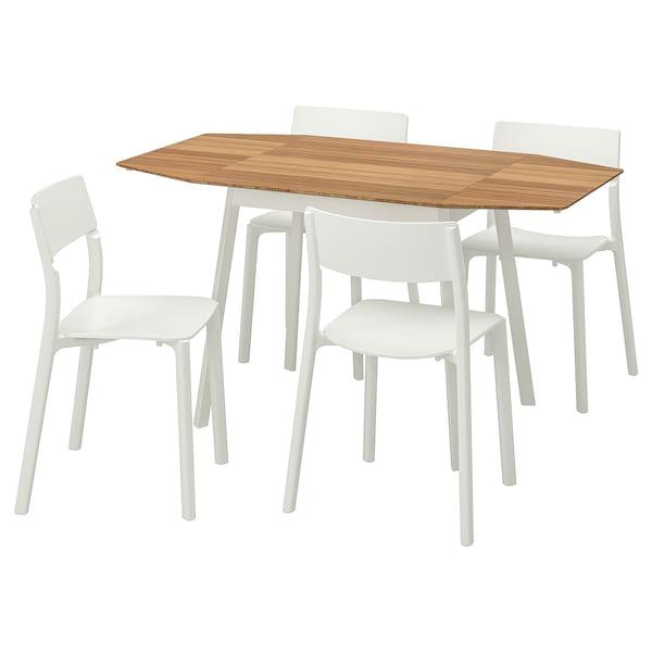 IKEA PS 2012 / JANINGE Stůl a 4 židle, bambus/bílá, 138 cm