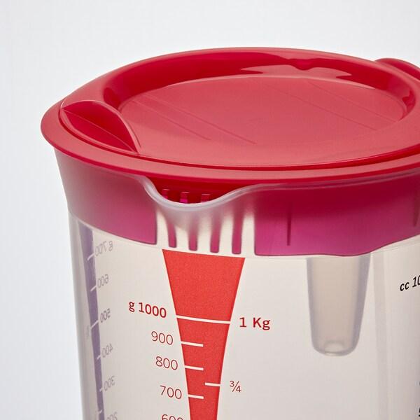 INFRIA Džbán s víkem a lisem na citrón, transparentní/třešňově červená, 1.0 l