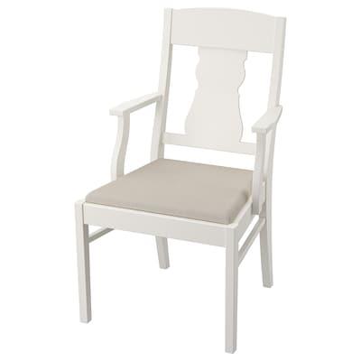 INGATORP Židle s područkami, bílá/Nordvalla béžová
