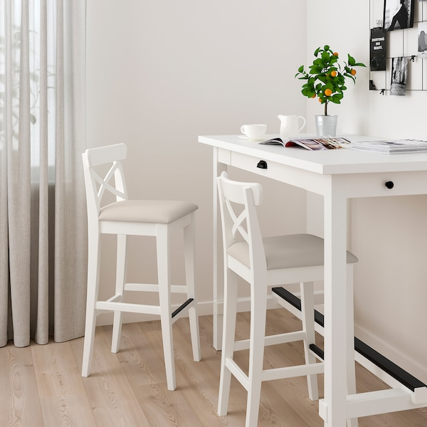 INGOLF Barová stolička s opěrkou, bílá/Hallarp béžová, 75 cm
