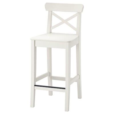 INGOLF Barová stolička s opěrkou, bílá, 63 cm