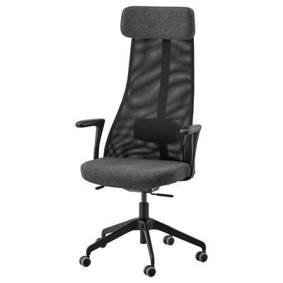 JÄRVFJÄLLET Kancelářská židle s područkami, Gunnared tmavě šedá/černá