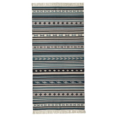 KATTRUP Koberec, hladce tkaný, ručně vyrobené/modrá, 75x150 cm