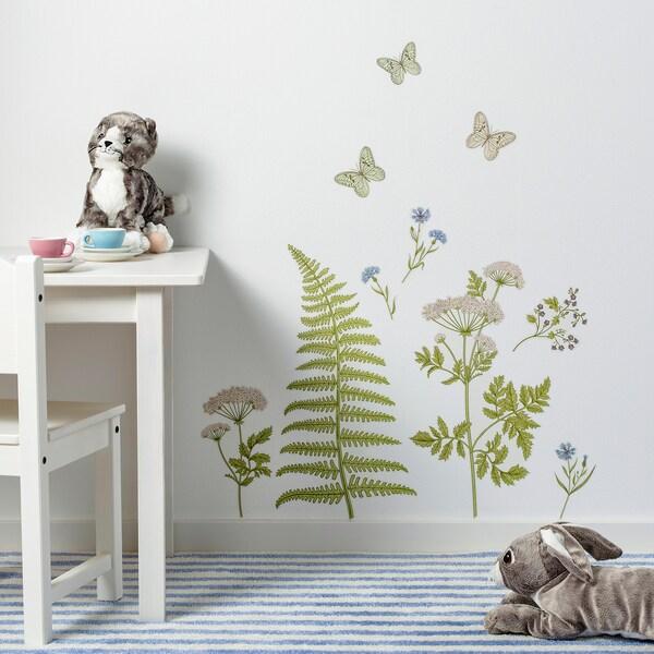 KINNARED Samolepicí dekorace, Kapradí a květiny