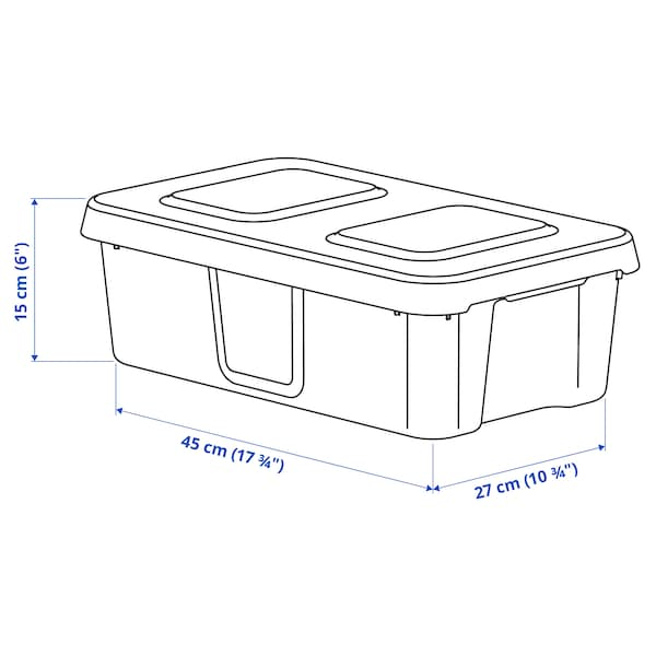 KLÄMTARE Krabice s víkem, vnitř./venk., tmavě šedá, 27x45x15 cm