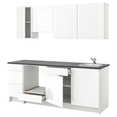 KNOXHULT Kuchyně, lesklá bílá, 220x61x220 cm
