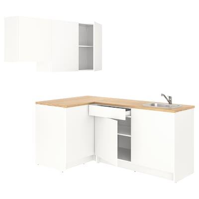 KNOXHULT Rohová kuchyně, bílá, 182x183x220 cm