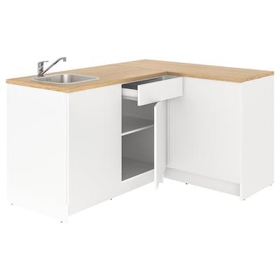 KNOXHULT Rohová kuchyně, bílá, 183x122x91 cm