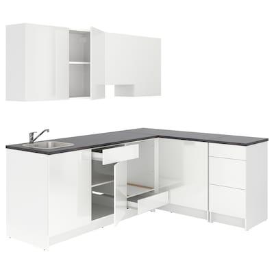KNOXHULT Rohová kuchyně, lesklá/bílá, 243x164x220 cm