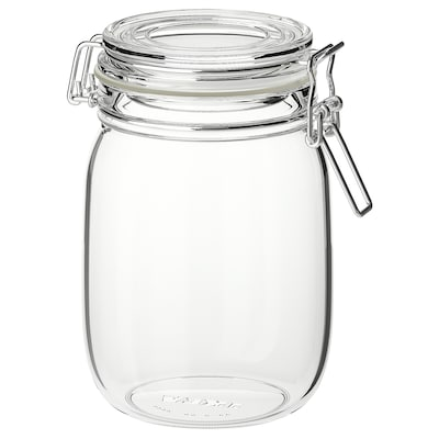 KORKEN dóza s víkem čiré sklo 16.5 cm 12 cm 1 l